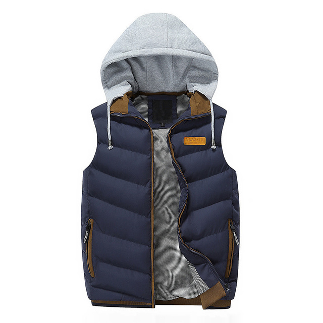 Good Quality Men Vest Leisure Thick Sleeveless Jacket Hooded Zipper Waistcoat Outerwear Winter Male Waistcoat Warm Vest