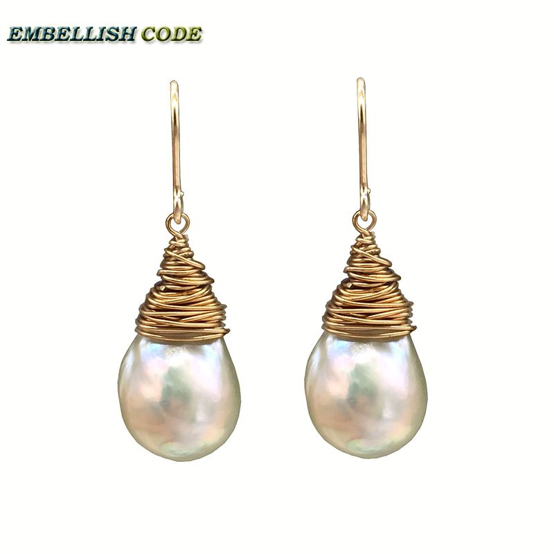 NEW 2018 hand made pearls Golden plated hook dangle earring baroque pearl fire ball stely tear drop shape white with gold color kcchstar luxury dual pearl gold plated ring golden white us size 8