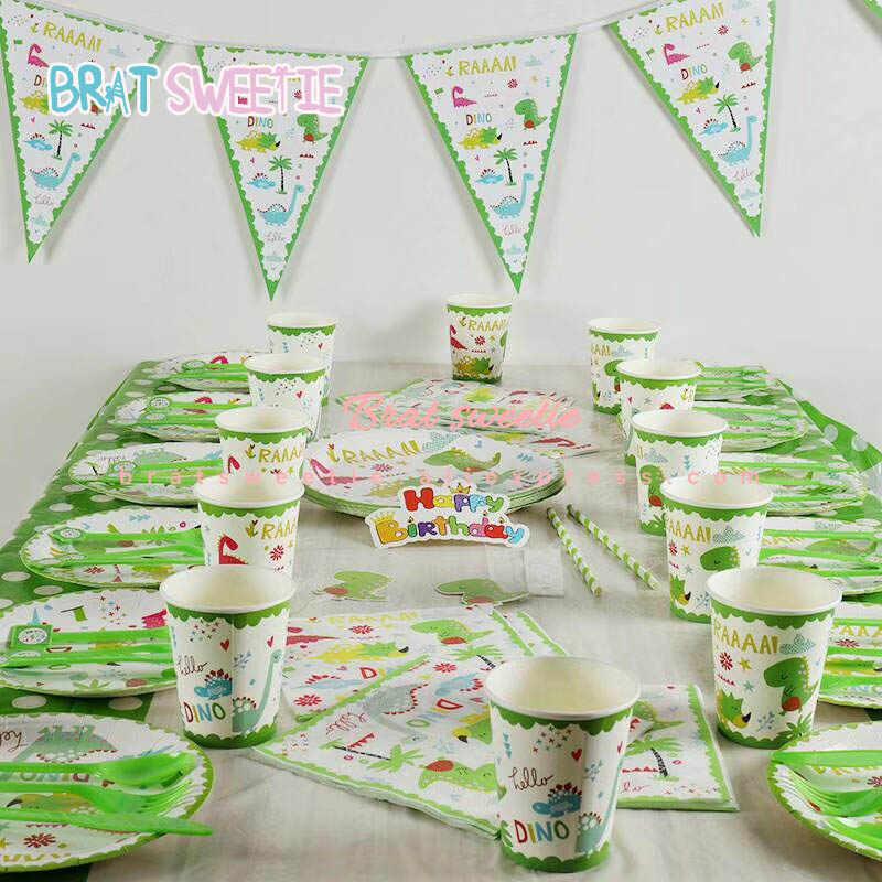 Crianças Meninos Do Bebê Feliz Aniversário Bandeira Da Bandeira Do Partido da selva Conjunto Talheres Descartáveis Dinossauro Temáticos Decoração do Partido Fontes Favores