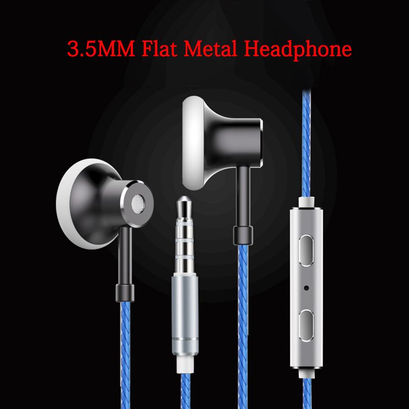 Noise Cancelling HIFI Earphone Metal Flat Earbuds Mic/Remote Volume Control For Xiaomi Mi 5 5S Plus Redmi Note 4 4A 4X 5 5A Pro goowiiz черный mi 5s plus
