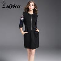 LADYBEES Little Black Dress Floral Embroidery Front Zipper Vintage Elegant Office Ladies OL Wear New 2017