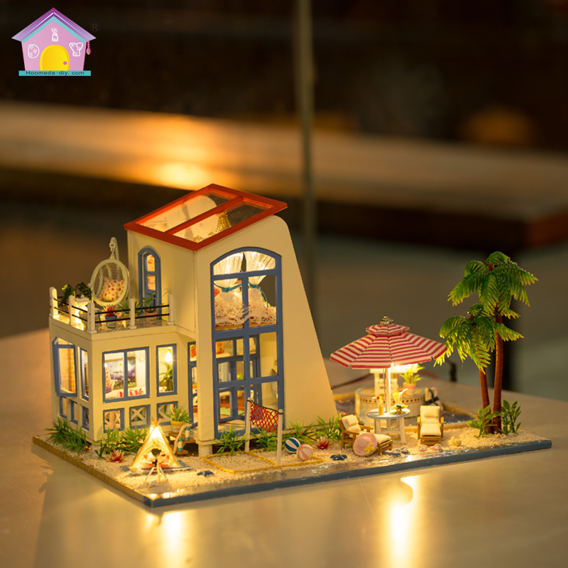 Diy Miniature Wooden Doll House Furniture Kits Toys Handmade Craft Miniature Model Kit DollHouse Toys Gift For Children big blue d030 diy mini villa model large wooden doll house miniature furniture 3d wooden puzzle building model