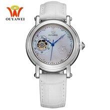 OUYAAWEI Flower Ladies Watch Elegant  white Leather Strap Fashion Casual Waterproof Automatic Mechanical Watch Women Dress Wrist