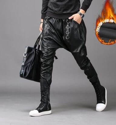 Черный Личность Мода Повседневная мужская кожаная Штаны тонкий PU штаны-шаровары мужские ноги брюки Хомбре Брюки-Карго мужские панталоны