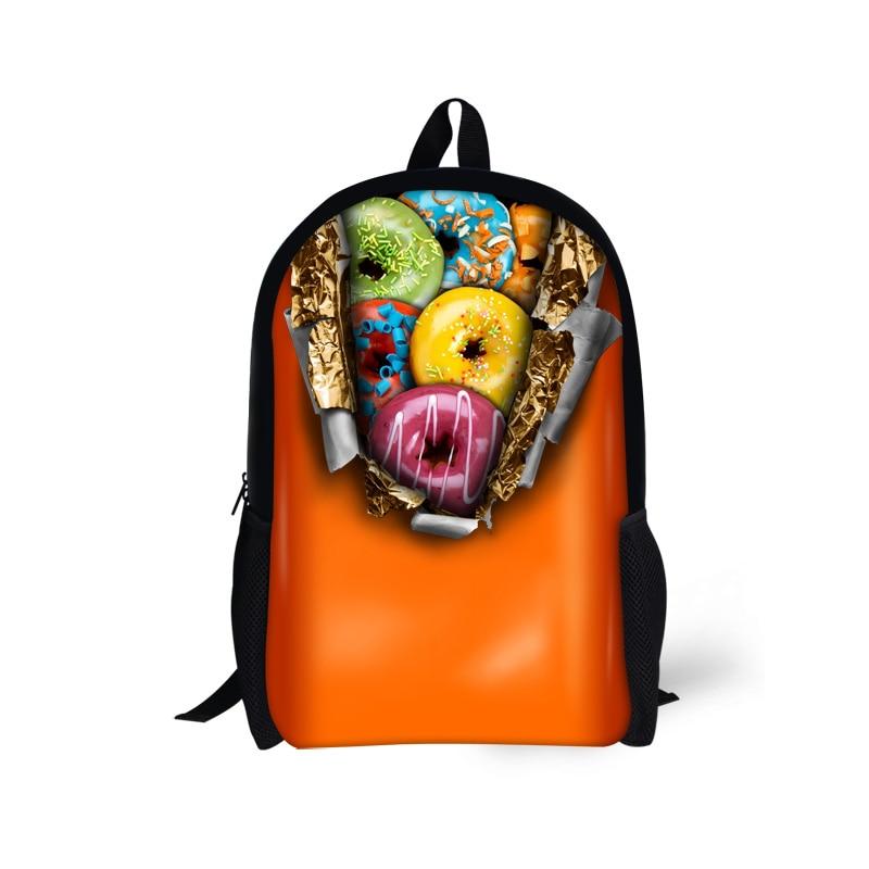 Mochila Infantil 2016 Kids Schoolbags Doughnut Prints Children School Bags for Teenager Student Girls Women Shoulder Travel Bags
