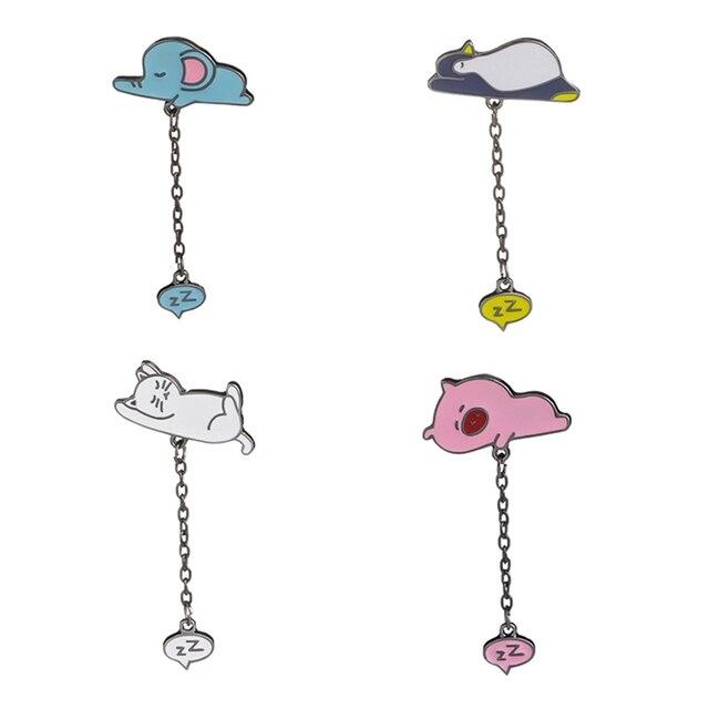 Sono branco gato broches pinos dormia azul elefante sofá porco cor de rosa broche de esmalte Ronco pinguim broches de jóias mulher crianças