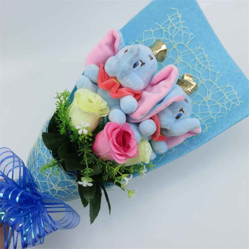 Artificial silk rose flowers with dumbo plush toys cartoon bouquet wedding home decoration Valentine's day Christmas gifts