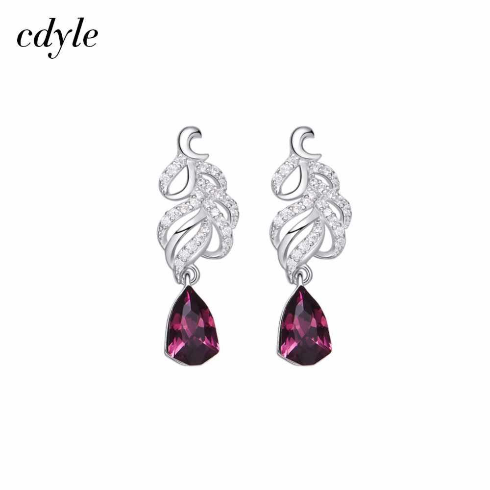 Cdyle Crystals from Swarovski S925 Sterling Silver Jewelry Purple Dangle Earrings Women Earrings Austrian Rhinestone Bijoux