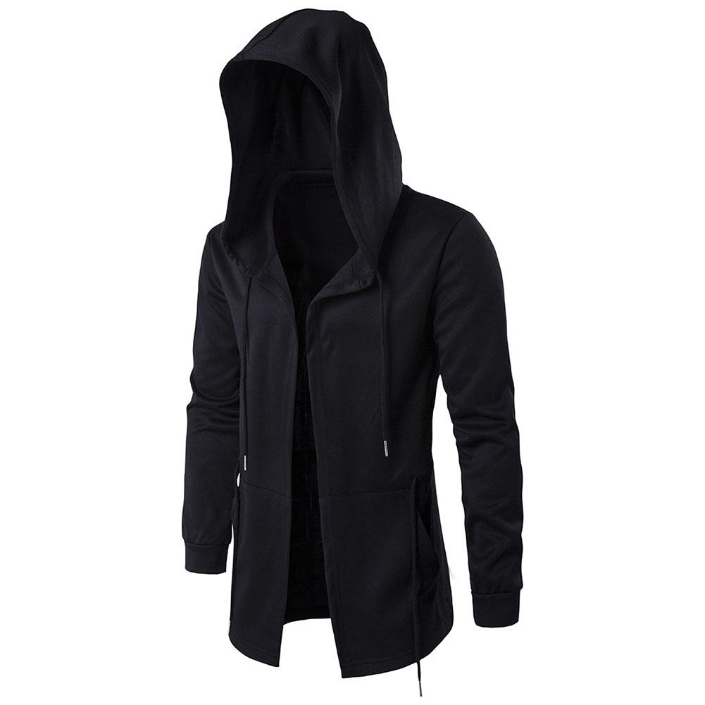 Wholesale Plus Size Casual Men Solid Color Hooded Long Sleeve Coat Drawstring Outwear
