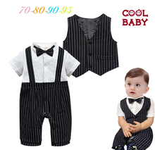 2016 Summer England Bebes Clothing With Striped Vest Baby Jumpsuit For Boys Birthday Gentleman Clothing