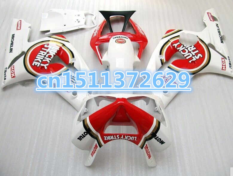 Мотоцикл обтекатель комплект для Kawasaki Ninja ZX6R 03 04 ZX6R 636 2003 2004 LUCKY-STRIKE Красный Белый ABS Обтекатели D