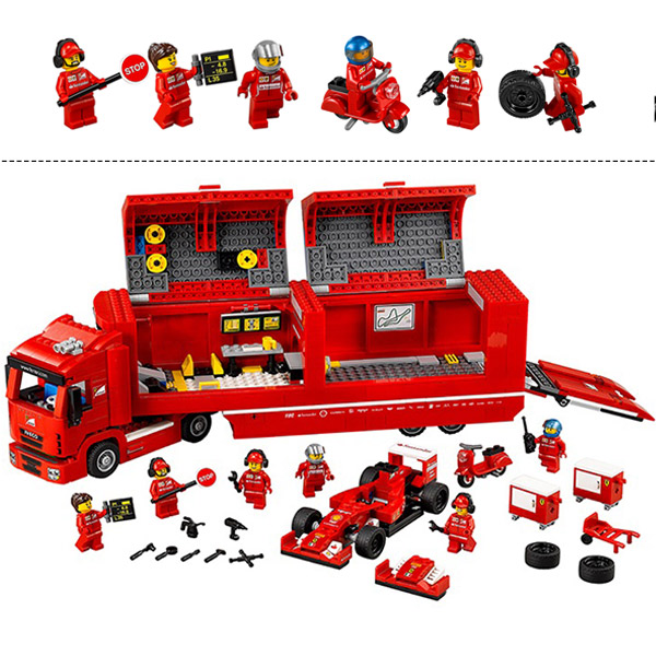 все цены на LEPIN 21010 Super Race Formula F1 Racing Container Truck Model Building Kits Block Bricks Toys Gift For Children онлайн