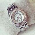 Новое поступление бс-s марка полный кристалл из нержавеющей стали часы женщины роскошные чешский камни часы леди циркон горный хрусталь браслет
