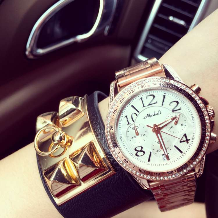 ФОТО Hot Sale Luxury Brand Stainless Steel Quartz Watch Women Ladies Fashion Crystal Dress Female Rose Gold 6 Pin Wristwatch OP001