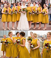 Cheap Yellow Chiffon Bridesmaid Dresses With Cap Sleeves Knee Length Custom Made Plus Size Wedding Guest Dress Party Gowns