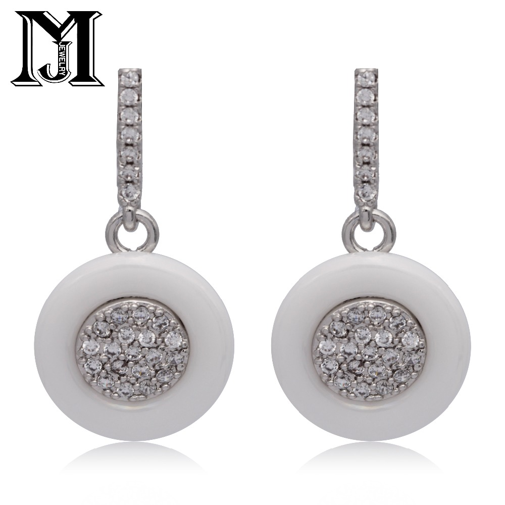 JiaMu hot new fashionable pendants natural zirconium ladies earrings with white ceramic oval ceramic S925 sliver ears  for party