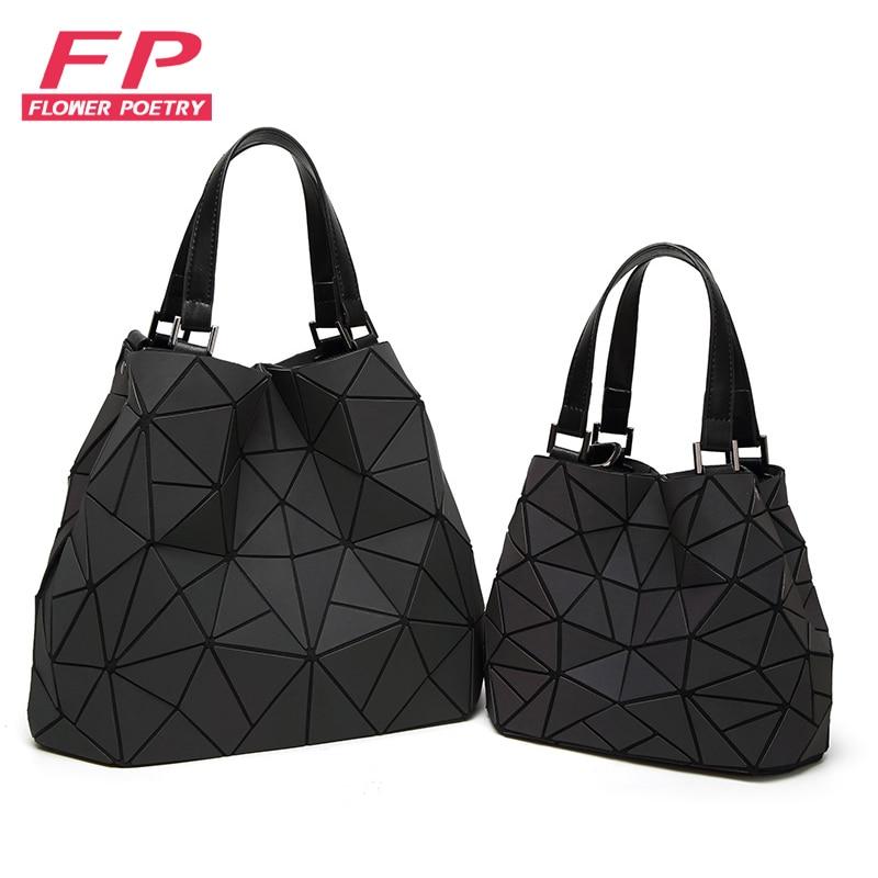 Flower Poetry Bao Bag Women Luminous Bucket Bag Geometry Diamond Shoulder Bags Casual Folding Handbags Ladies Messenger Bags