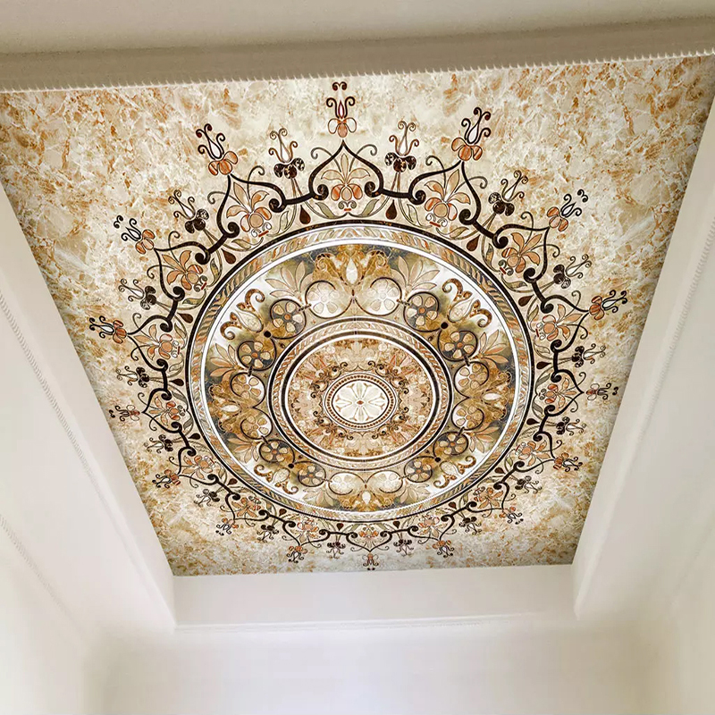 Ceiling Wallpaper Custom Mural 3D Golden Flower Pattern European Style Living Room Bedroom Ceiling Decoration Murals For Walls