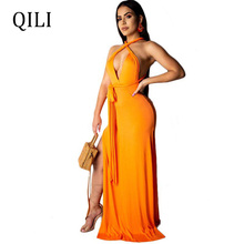 QILI Sexy V Neck Backless Sleeveless Bandage Women Dress High Split Long Maxi White Dresses Summer Beach