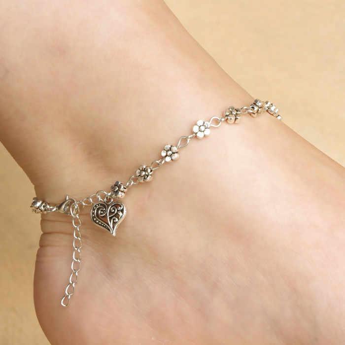Toptan Ayak Jewelryl Vintage Gümüş Kalp Kolye Halhal Kadınlar Için Basit Çiçek Zincir Halhal Bilezik bacak ayak
