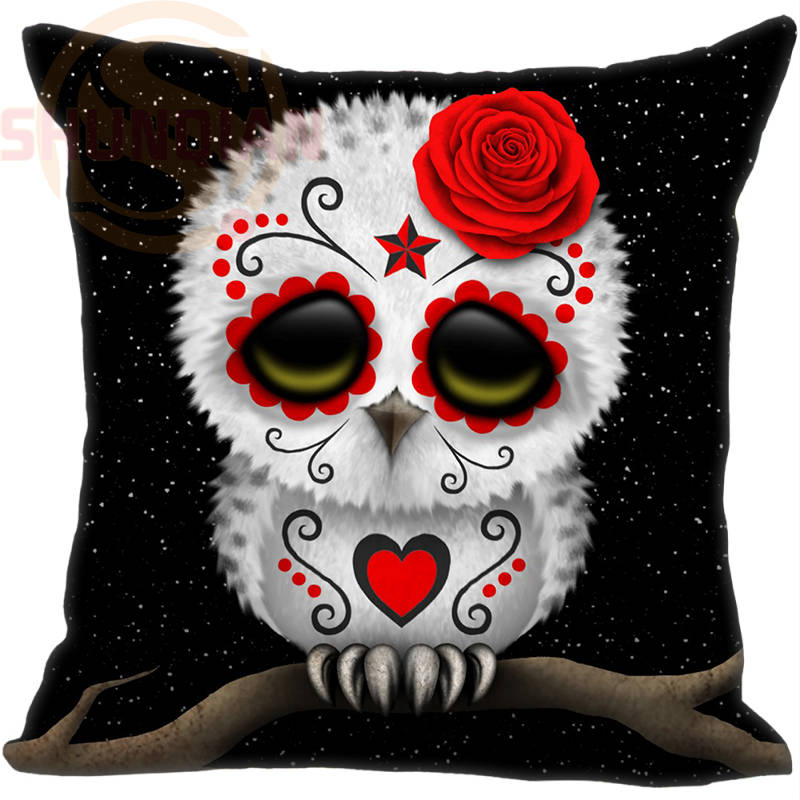Hot Sale Custom Day of the Dead Sugar Skull Owl Stars Pillowcase One SidesHome Cushion Cover Pillow Cases
