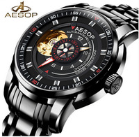 Aesop Watch Men Luxury Automatic Mechanical Wristwatch Crystal Waterproof Hollow Male Clock Relogio Masculino Hodinky Saat