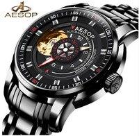 Esopo Relógio de Luxo Homens Mecânico Automático Relógio de Pulso de Cristal Oco À Prova D' Água Masculino Relógio Relogio masculino Saat Hodinky Relógios mecânicos    -