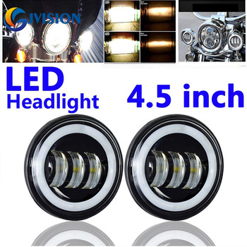Black 2 x 4.5'' INCH LED Auxiliary Spot Passing Light Angel eyes DRL For Harley Davidson motorcycles