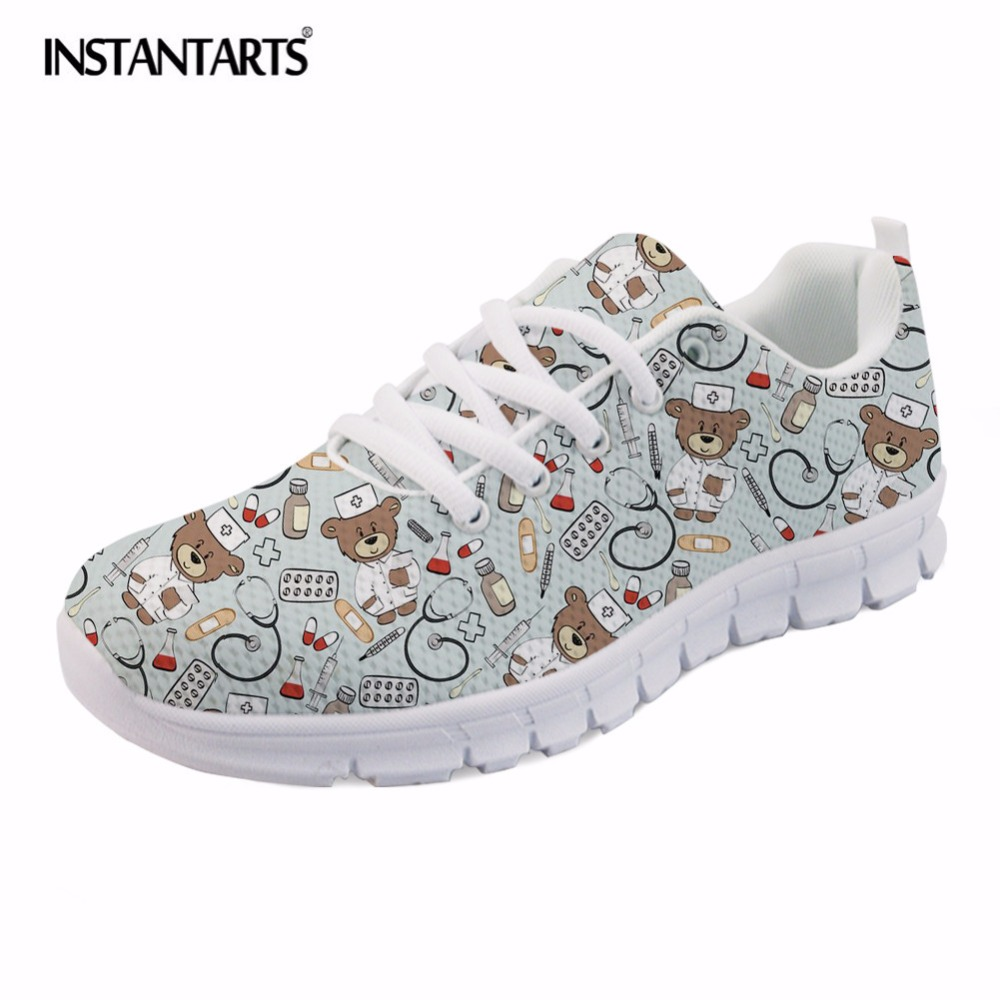 INSTANTARTS 2018 HOT Pediatrics Nurse Prints Comfortable Lace-up Flats Shoes for Women Cute Nursing Bear Sneakers Air Mesh Shoes instantarts cute cartoon pediatrics doctor print summer mesh sneakers women casual flats super light walking female flat shoes
