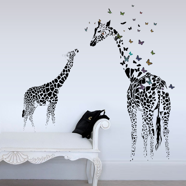 3D two Giraffe Butterfly DIY Vinyl Wall Stickers For Kids Rooms Home Decor Art Decals Wallpaper decoration adesivo de parede 5