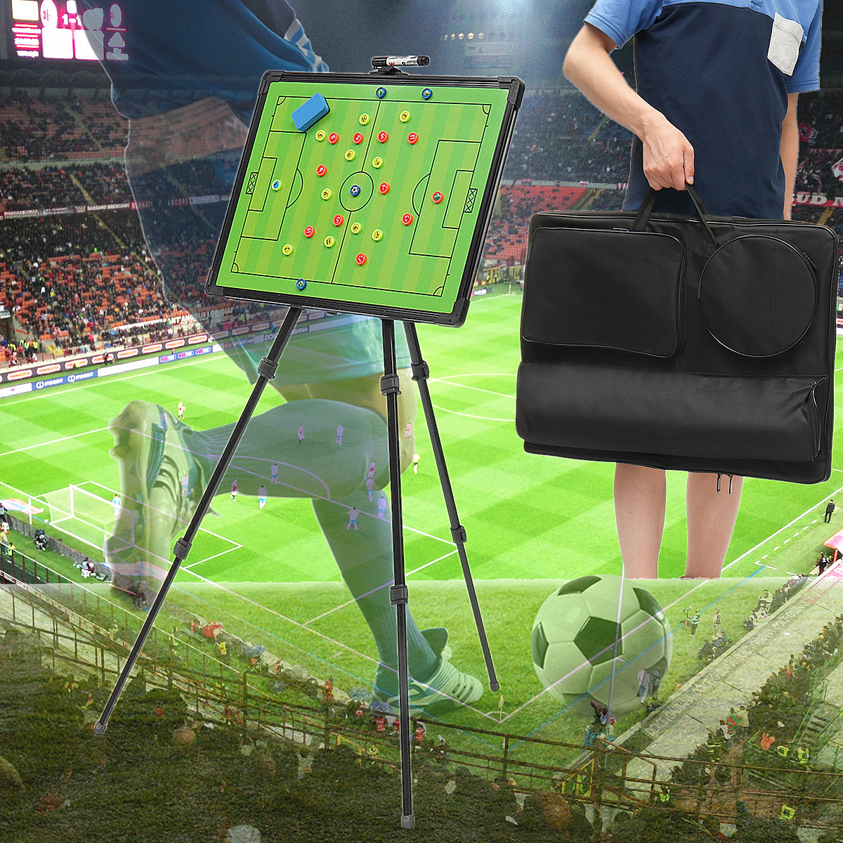Professional Football Tactical Coaching Board Training Guidance Magnetic Buttons w/Tripod Stainless Steel+PVC Portable 60x45cm greg bach coaching football for dummies