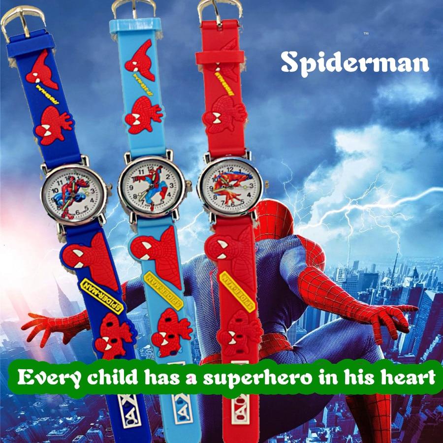 Hot Sale Spiderman Watch Cute Boys Cartoon Children Watch Kids Watches Rubber Quartz Watch Child Gift Hour Reloj Montre Relogio