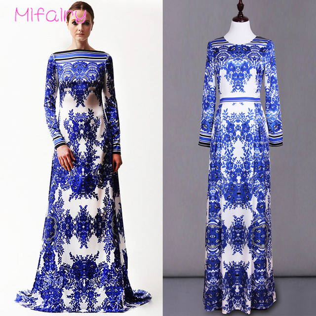 355e005861d Mifairy 2017 O Neck Long Sleeves Blue And White Porcelain Print Long Women  Dress Plus Size Floor Length Maxi Dress 92207