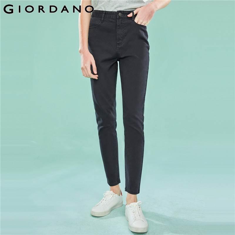 Giordano Women Denim   Jeans   Women High Rise Stretchy Denim   Jeans   Woman Ankle Length Denim Pants Zip Fly Pockets Narrow Feet   Jeans