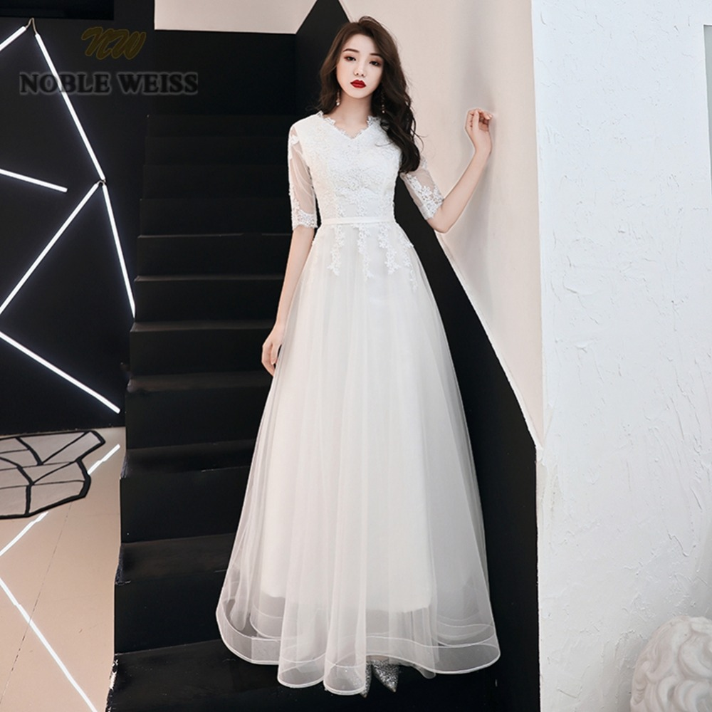 prom     dresses   v-neck ivory tulle vestidos de festa floor-length   prom     dress   sexy appliques party   dresses   with half sleeves