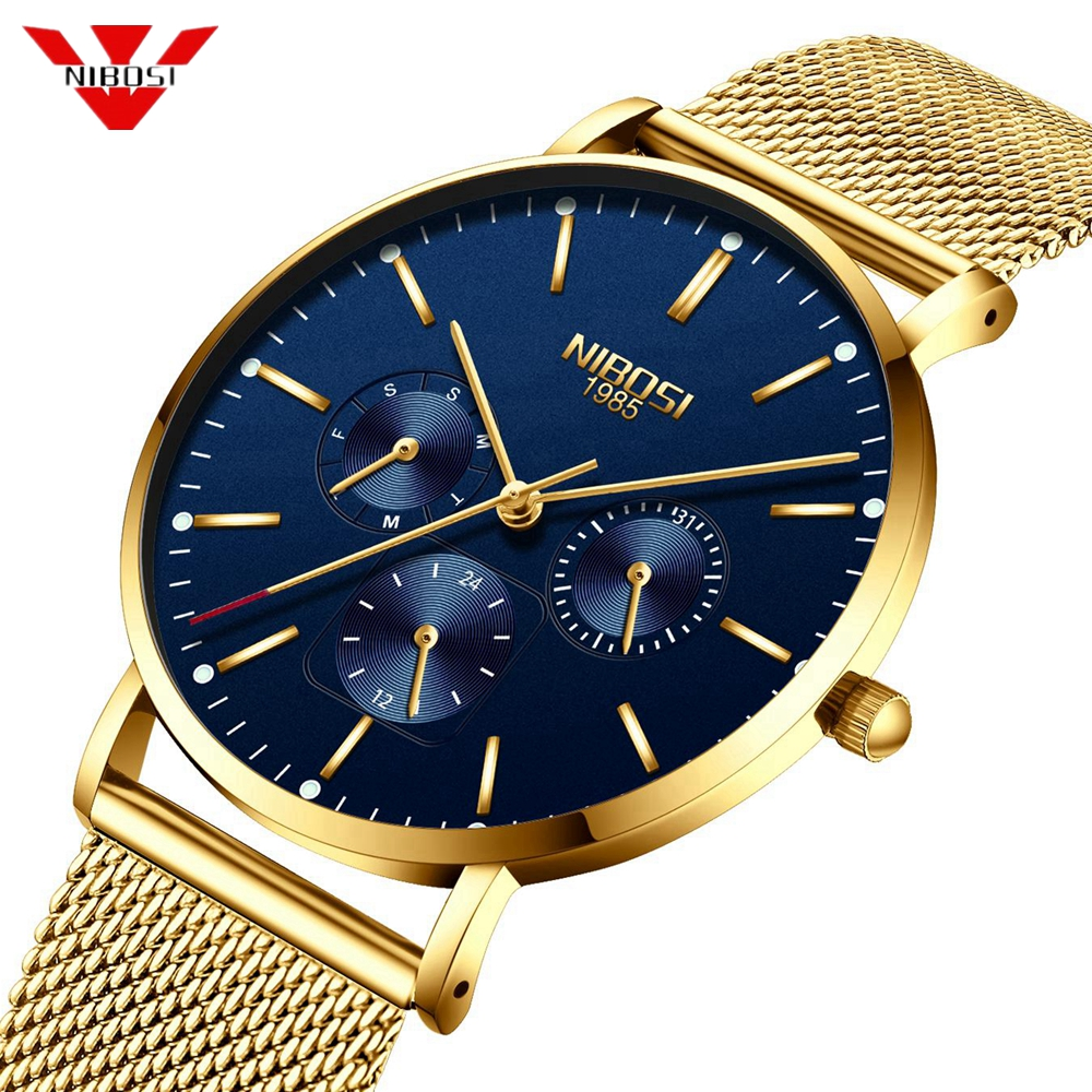 NIBOSI Ultra Thin Men's Watches Top Luxury Brand Watch Men Sports Quartz Stainless Steel Mesh Strap Dial Clock Relogio Masculino