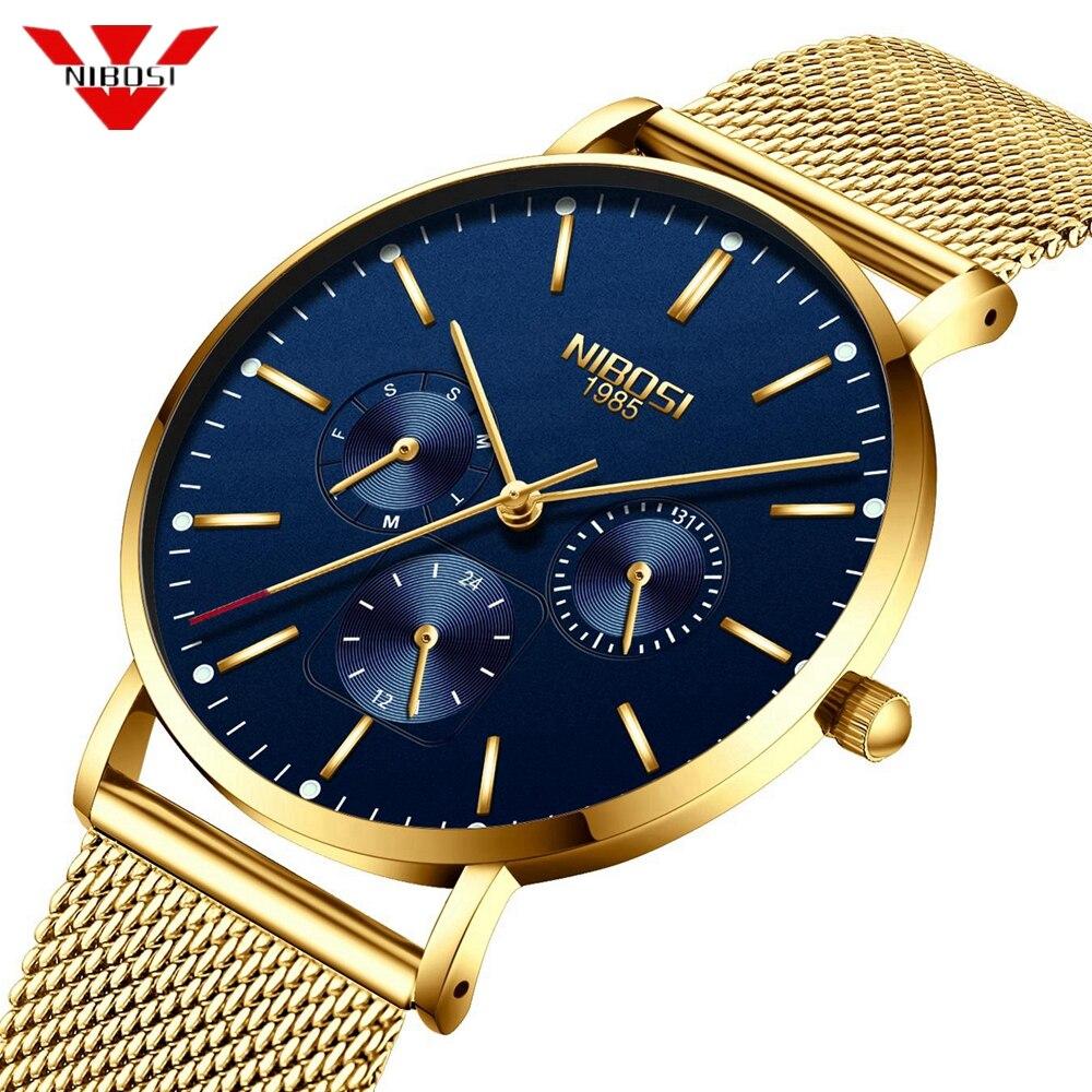 NIBOSI Ultra Thin Men's Watches Top Luxury Brand Watch Men Sports Quartz Stainless Steel Mesh Strap Dial Clock Relogio Masculino