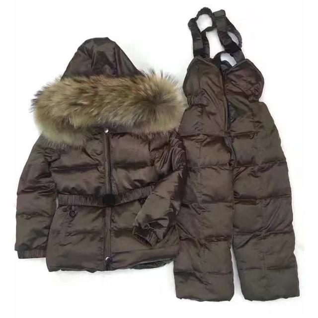 Invierno ruso. año nuevo bebé de invierno niños chicas white duck down jacket coat trajes conjunto de ropa, ropa de los niños