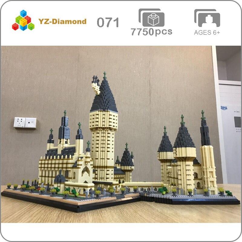 YZ 071 World Famous Architecture Medieval Castle College 3D Model DIY 7750pcs Mini Building Diamond Nano