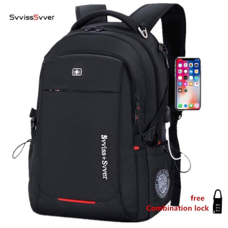 Svvisssvver hombre multifunción USB de carga de negocios de moda casual turística anti-robo impermeable portátil de 15,6 pulgadas hombres mochila