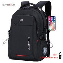 Svvisssvver мужской Универсальный USB зарядка Модный Бизнес Повседневный туристический Противоугонный водостойкий 15,6 дюймов ноутбук мужской рюкзак