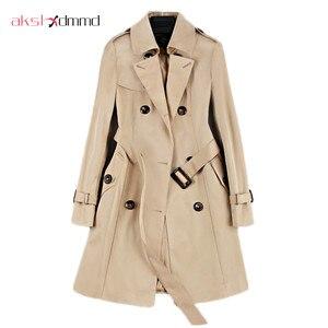 2019 Nieuwe Mode Double Breasted Mid-lange Trenchcoat Vrouwen Kaki Slanke Riem Mantel Mujer Windjack Vrouwelijke Abrigos Brazilië LH810(China)