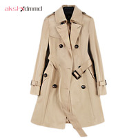 2017 New Fashion Double Breasted Mid Long Trench Coat Women Khaki Slim Belt Cloak Mujer Windbreaker