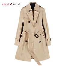 2019 New Fashion Double Breasted Mid-long Trench Coat Women Khaki Slim Belt Cloa
