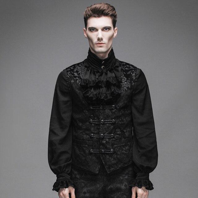 Devil Fashion Gothic Victorian Sleeveless Velvet Vest For Men Steampunk Medieval Gentlemen Black Jacket Waistcoats