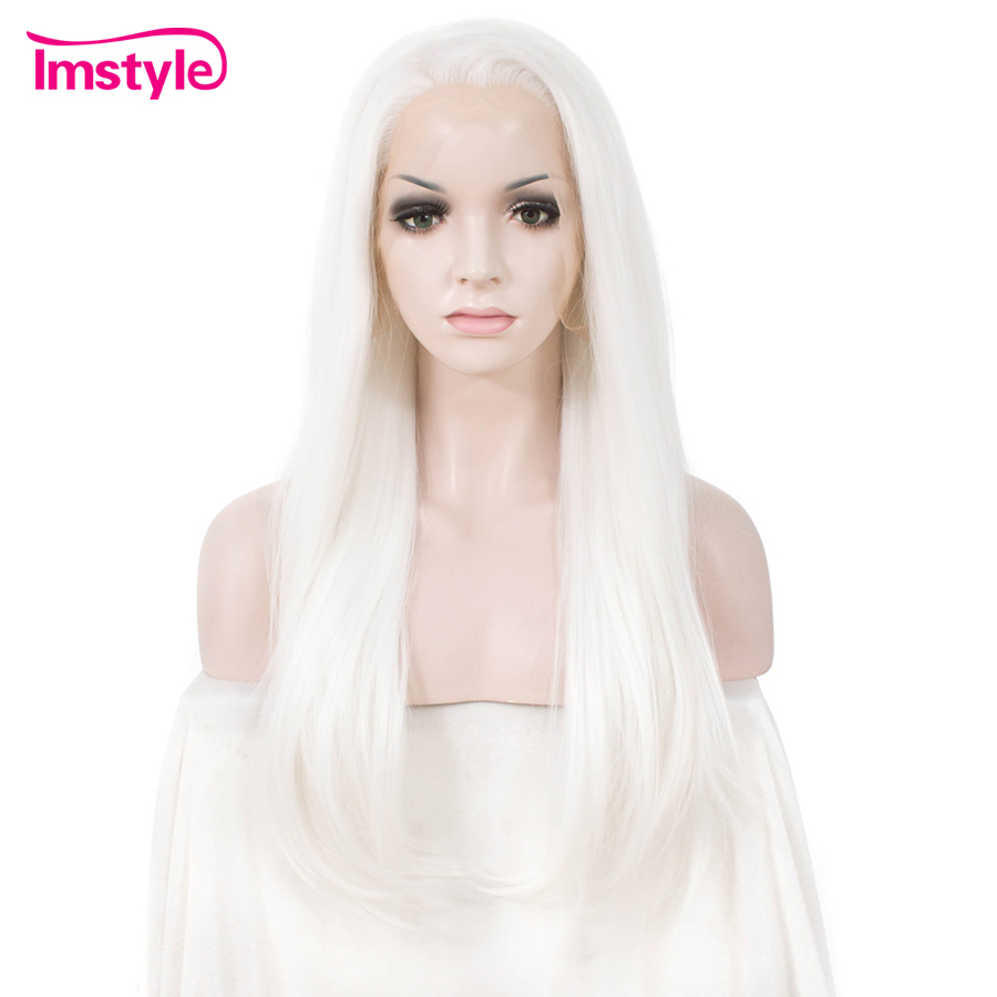 Imstyle Straight White Synthetic Lace Front Wig Cosplay Wig For Women Heat Resistant Fiber Natural Lace