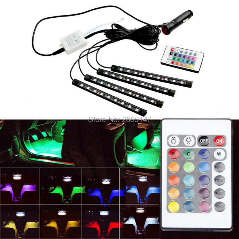 4PCS Wireless Remote Control Car Interior RGB LED Neon Light Lamp Strip Decorative Atmosphere Lamps Bulb Auto Interior Lights
