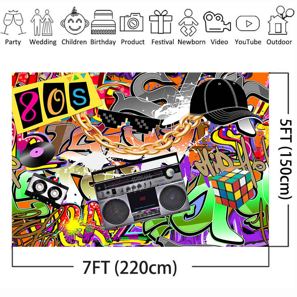 HD Graffiti 80 s Backdrop 7X5FT Vinyl Hip Hop 90 s Backdrops Creative Red Lips Twinkle Stars Artistic Photography Background for Girls Bridal Shower Decoration Wallpaper Photo Studio Props KX843