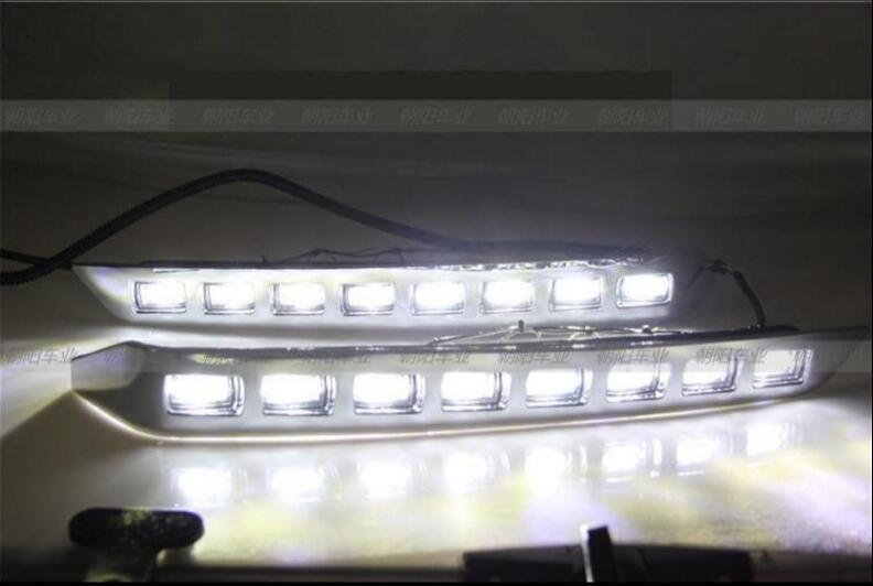 2pcs Front Bumper LED Driving Daytime Lights Running Light Kit For Toyota Land Cruiser LC200 2012-2015
