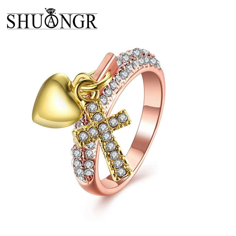 SHUANGR Cross Finger Rings for Women Paved CZ zircon Luxury Hot Princess Lady Wedding Engagement Ring Rose Gold Color Jewelry